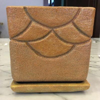 Ručne robený keramický kvetináč aj s podtáckou – 14x14cm