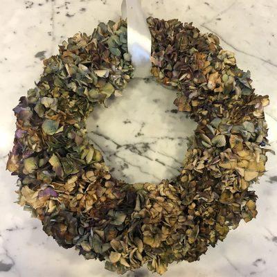 Veniec zo sušených Hortenzií zo záhradky